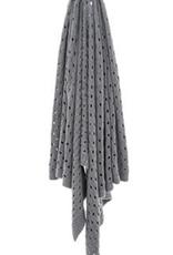 Jeté tricot coton gris 50x60