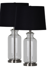 Lampe de table transparante-verre-fer-nickel satiné-abat jour en coton noir