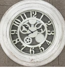 Horloge blanche rustique 30x30