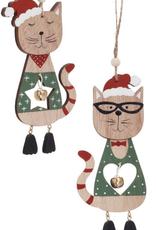 Ornement de chats en bois