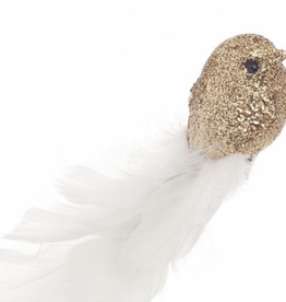 """Clip oiseaux blanc et or 8"""""""