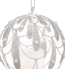 Ornement avec perles et chandelle LED
