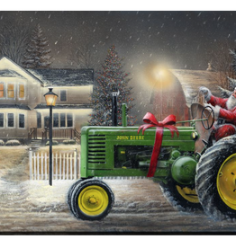 """Toile DEL Père Noël et son tracteur 12"""" X 16"""""""
