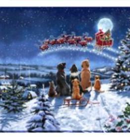 """Toile DEL traîneau du Père Noël et chiens 12"""" X 16"""""""