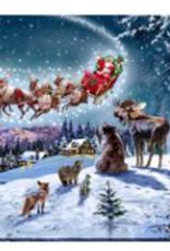 """Toile DEL traîneau du Père Noël et animaux de la forêt 12"""" X 16"""""""