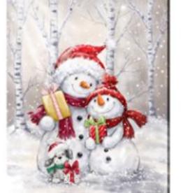 """Toile DEL bonhomme de neige en famille 12"""" X 16"""""""