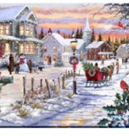"""Toile DEL village sous la magie de Noël 12"""" X 16"""""""