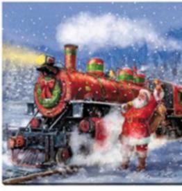 """Toile DEL train et Père Noël 12"""" X 12"""""""