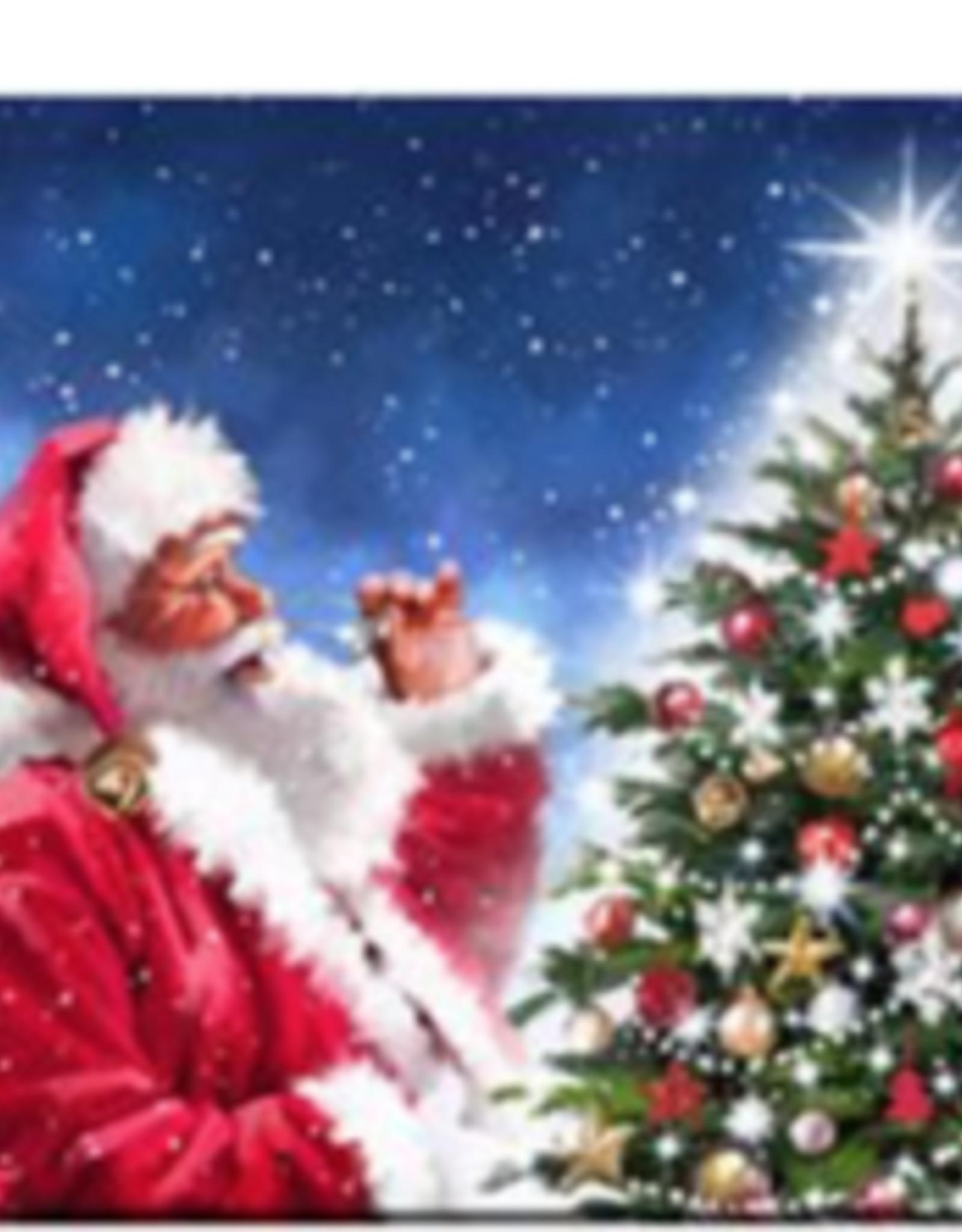 """Toile DEL Père Noël qui regarde le sapin 16"""" X 16"""""""