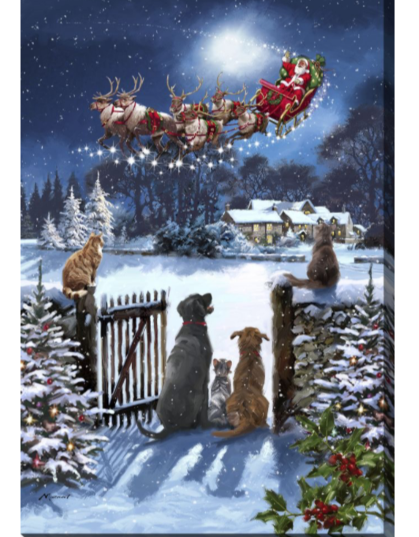 """Toile DEL chats et chiens qui regardent le Père Noël 24"""" X 36"""""""