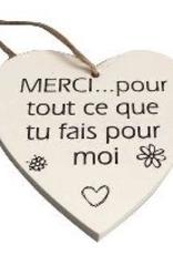 """Coeur en bois 3.5"""" MERCI... pour tout ce que tu fais pour moi"""