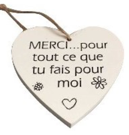 """Décoration de Noël Coeur en bois 3.5"""""""