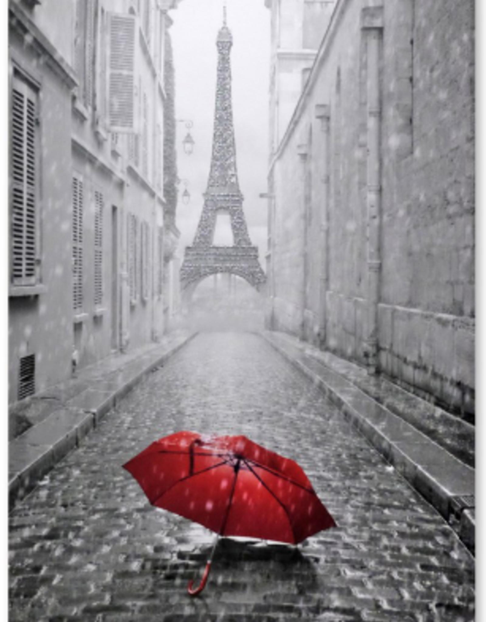 """Toile Tour Eiffel et parapluie rouge 20"""" X 28"""""""
