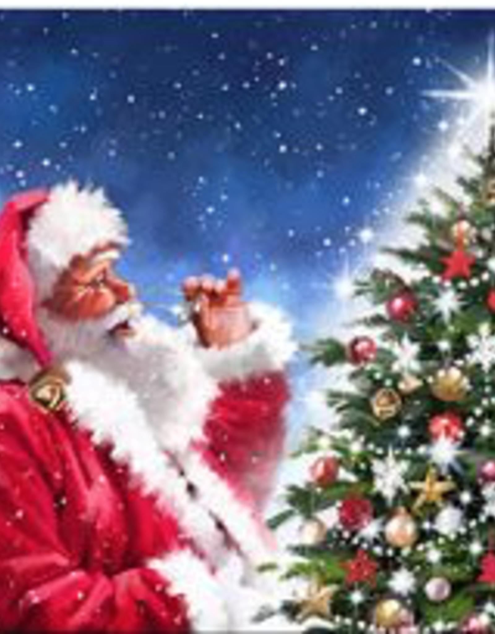 """Toile DEL Père Noël devant sapin 16"""" x 16"""""""