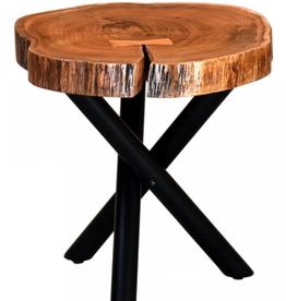 """Table d'appoint Shlok avec pieds naturels / noirs 21"""" Dia. x 21""""H"""