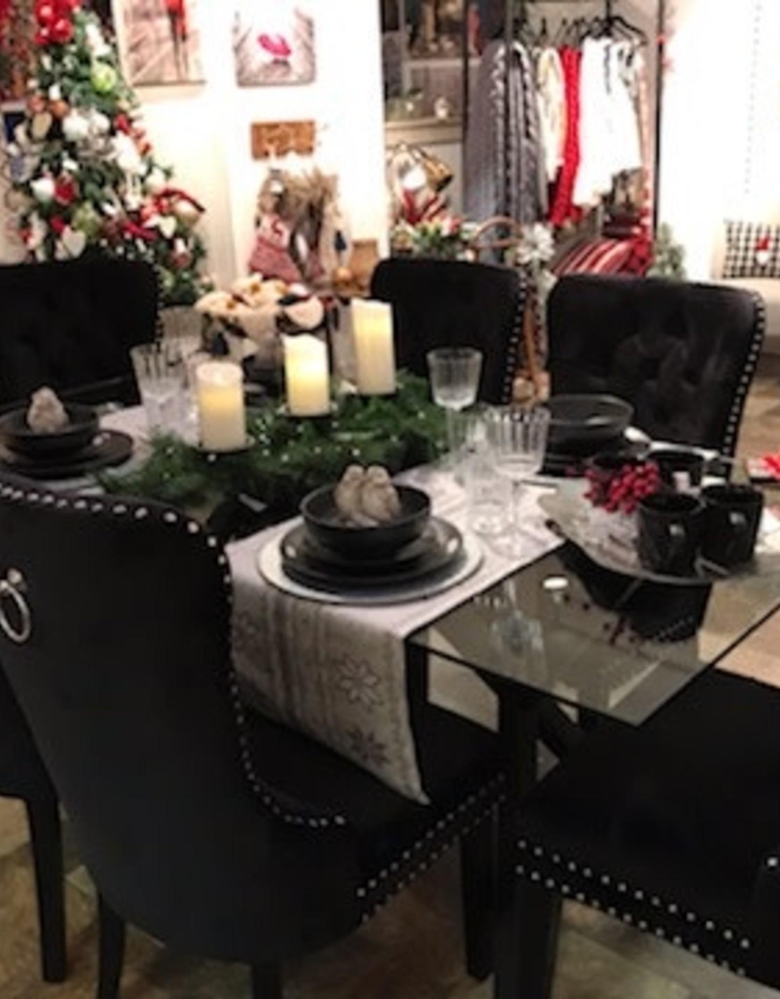 """Ensemble salle à manger table Stark verre/noir 71"""" x 35.50"""" x 30""""H et 4 chaises Rizzo velour noir"""