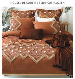 Brunelli Housse de couette Aztek Terracotta D/Queen + 2 c.o.
