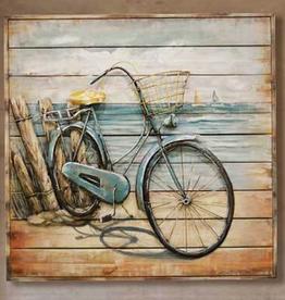 """Peinture 3D sur bois """"Vélo bleu""""32""""x32"""""""