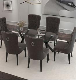 Ensemble de salle à manger Stark/Rizzo 7 pièces, noir/gris