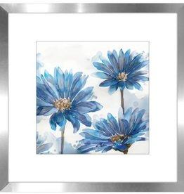 """Cadre jardin bleu #2 BRIGHT BLUE GARDEN I 18"""" x 18"""""""