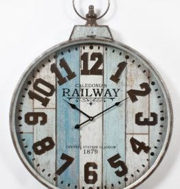 "Horloge bois blanc et bleu 24"" x 30"""