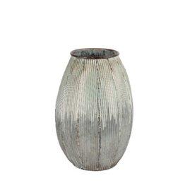 """Vase métal gris blanc vert 8"""" X 12"""""""