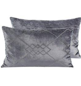 """Coussin gris avec brillant argent 14"""" x 20"""""""