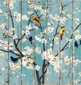 """Toile oiseaux/arbres 39"""" X 39"""""""