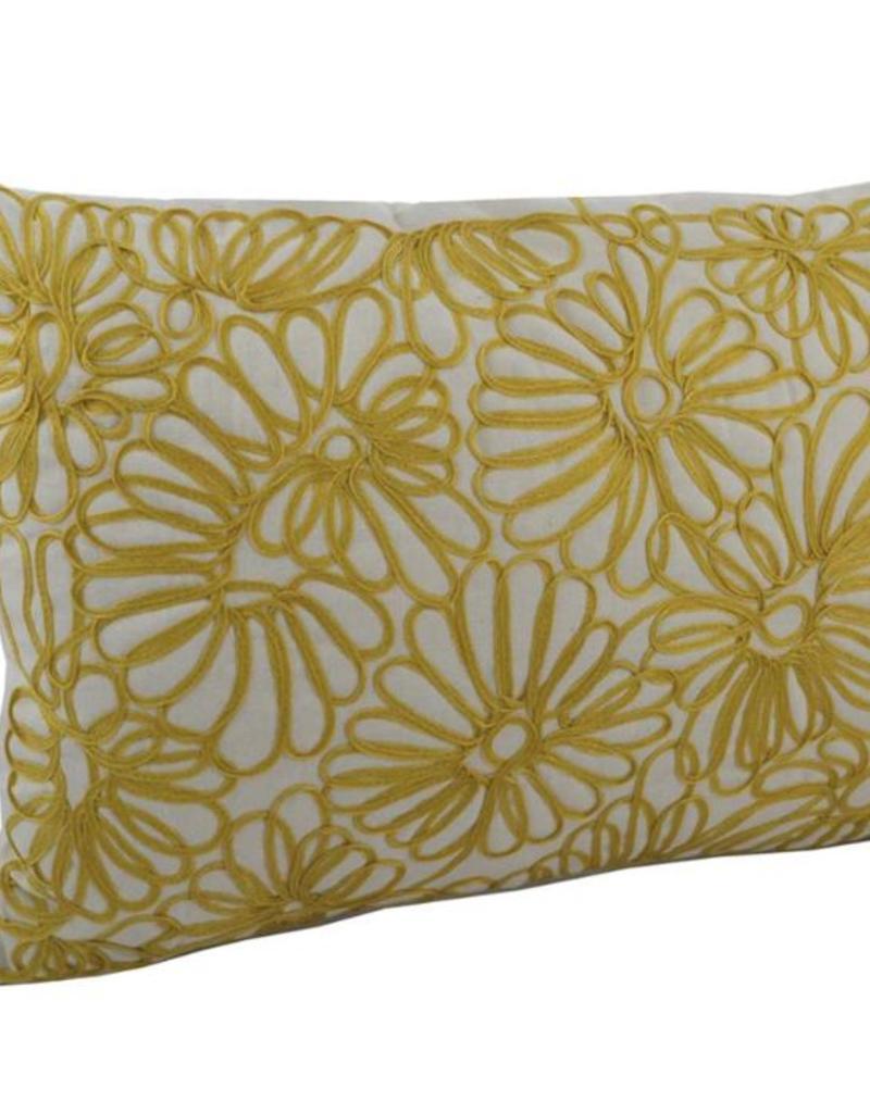 """Coussin brodé fleur jaune 14"""" x 20"""""""