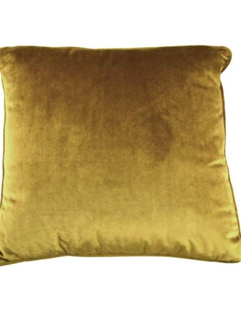 "Coussin velours moutarde 18"" x 18"""