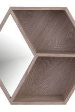 Miroir hexagone et bois pâle