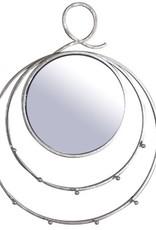 Miroir rond avec crochets or