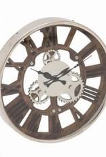 Horloge ajouré bois et chrome 14d
