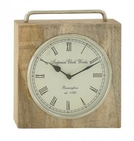Horloge de table en bois 11""