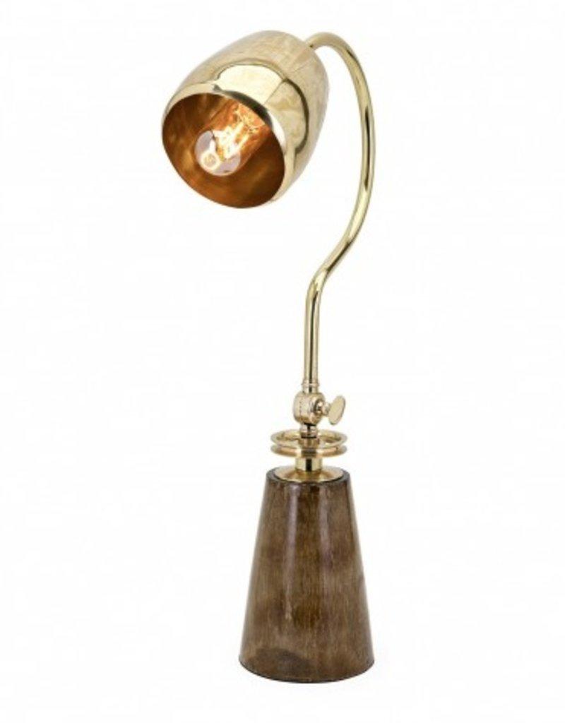 """Lampe de lecture bois et brass 23""""H"""