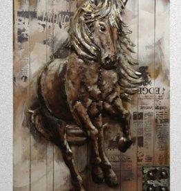 """Peinture cheval métal sur bois 32"""" X 48"""""""