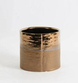 """Pot rond bronze métallique 6.5"""" x 6"""""""