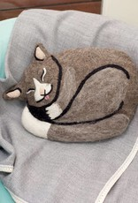 dZi Kitty Felted Throw Pillow