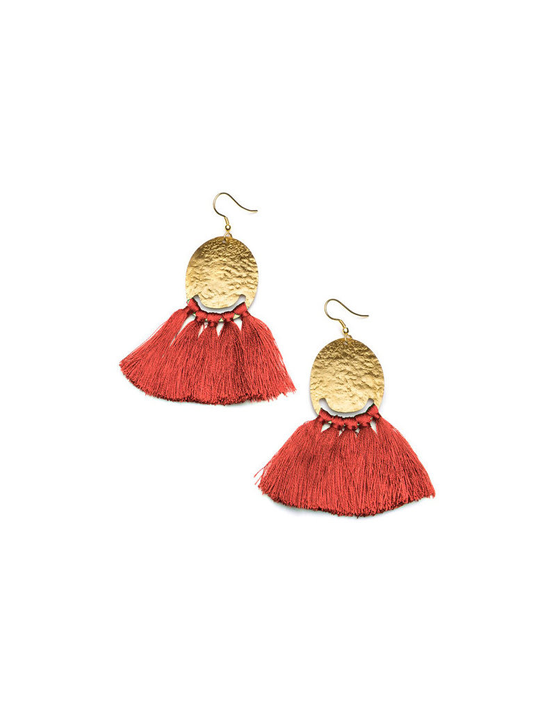Matr Boomie Nihira Red Tassel Earrings