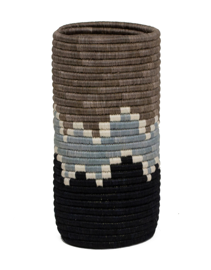 Kazi Light Taupe + Black Bahari Sisal Vase