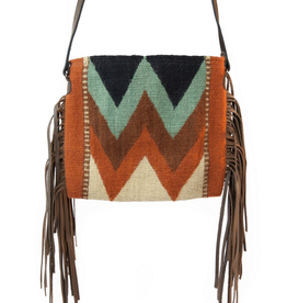MZ Fair Trade Mountain Chevrons Fringe Purse
