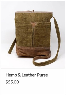 Hemp and Leather Bag from Ganesh Himal Trading