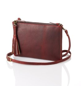 Leather Crossbody Purse in Burgundy