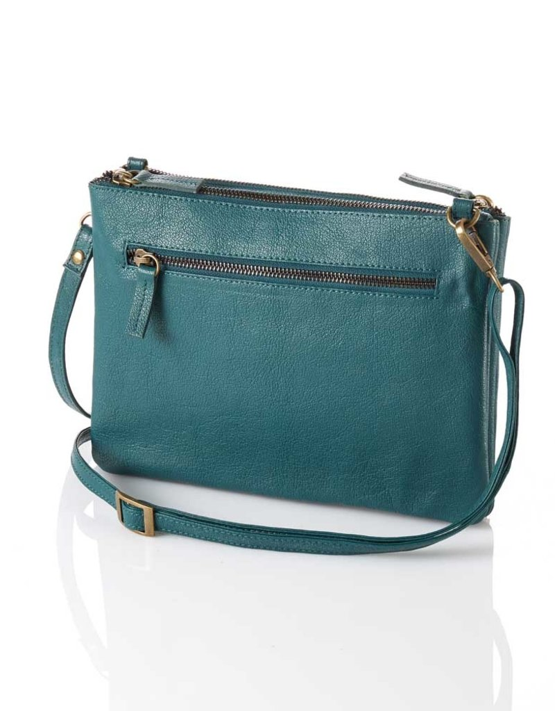 Leather Crossbody Purse in Teal