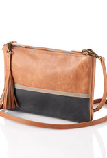 Leather Crossbody Purse in Tan Colorblock
