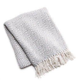 Asha Handicrafts Gray Diamond Rethread Throw