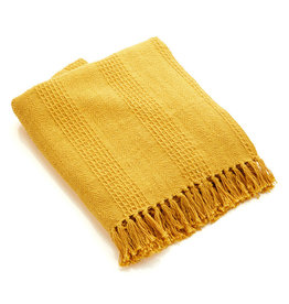 Asha Handicrafts Mustard Rethread Throw
