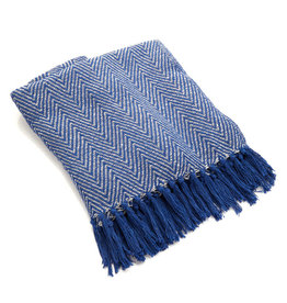 Asha Handicrafts Blue Chevron Rethread Throw