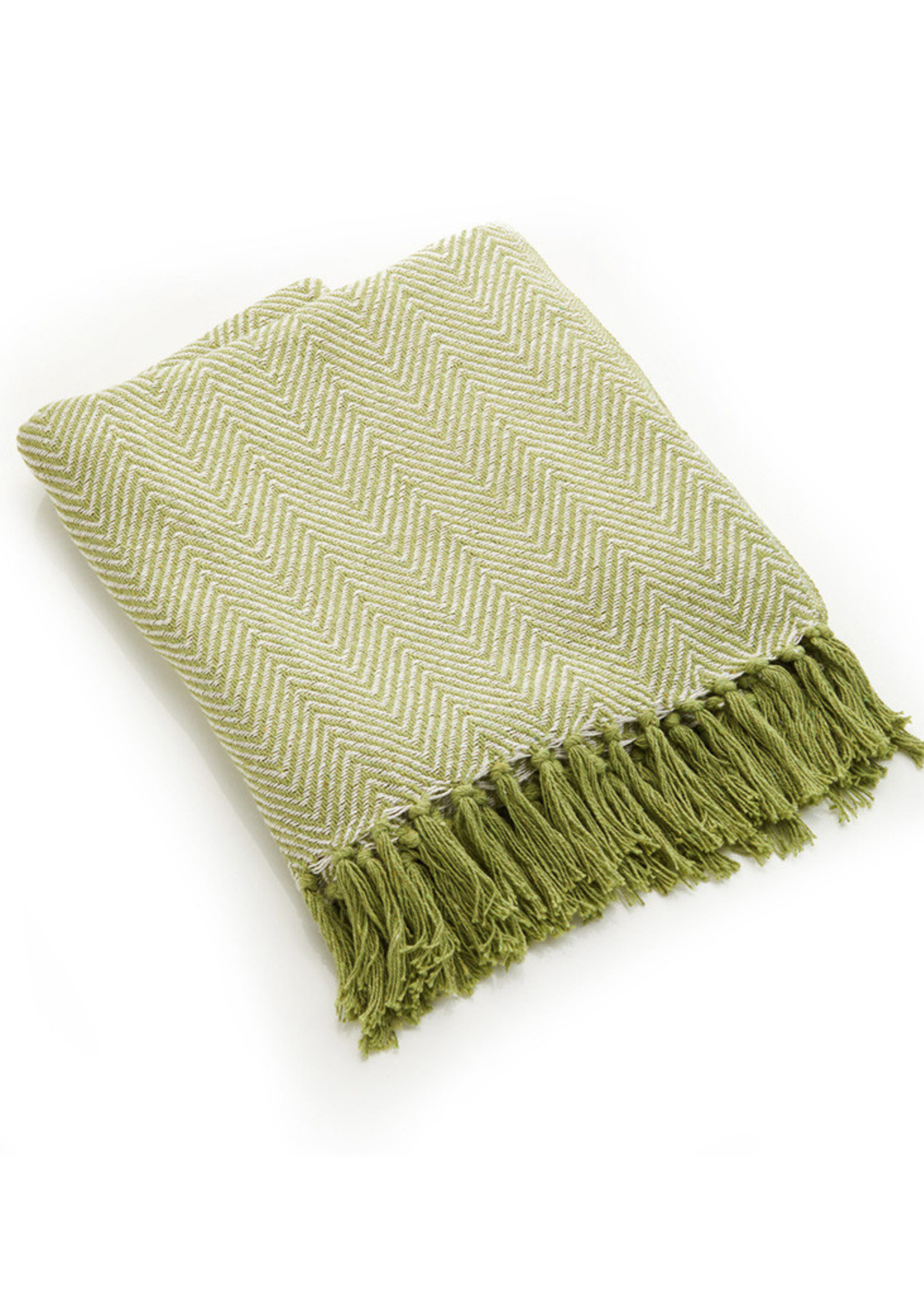 Green Chevron Rethread Throw