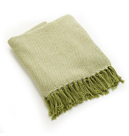 Asha Handicrafts Green Chevron Rethread Throw